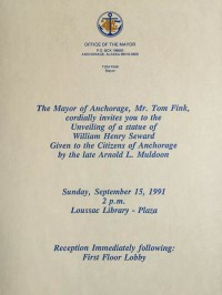 Mayoral invitation to unveiling of William Henry Seward statue (1991), a gift from Arnold Muldoon.